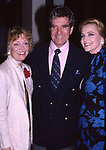 Kay Callan, Hugh O'Brian and Anne Jeffreys attend a Broadway show on September 1, 1986 in New York City.