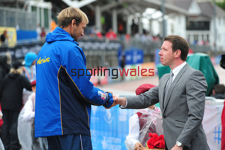 IPC European Athletics Championship 2014<br /> Swansea University<br /> <br /> Medal ceremony: Men's Javelin throw F37/38.<br /> <br /> 21.08.14<br /> Chris Vaughan-SPORTINGWALES