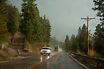 Rainy wet road near Flathead Lake, Montana