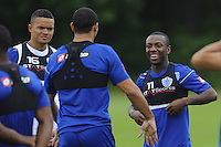 Shaun Wright-Phillips and Jermaine Jenas of QPR in training