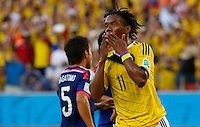 CUIABA - BRASIL -24-06-2014. Foto: Roberto Candia / Archivolatino<br /> Juan Cuadrado (#11) jugador de Colombia (COL) celebra un gol anotado a Japón (JPN) durante partido del Grupo C de la Copa Mundial de la FIFA Brasil 2014 jugado en el estadio Arena Pantanal de Cuiaba./ Juan Cuadrado (#11) player of Colombia (COL) celebrates a goal scored to Japan (JPN) during the macth of the Group C of the 2014 FIFA World Cup Brazil played at Arena Pantanal stadium in Cuiaba. Photo:  Roberto Candia / Archivo Latino<br /> VizzorImage PROVIDES THE ACCESS TO THIS PHOTOGRAPH ONLY AS A PRESS AND EDITORIAL SERVICE IN COLOMBIA AND NOT IS THE OWNER OF COPYRIGHT; ANOTHER USE IS REPONSABILITY OF THE END USER. NO SALES, NO MERCHANDASING. ALL COPYRIGHT IS ARCHIVOLATINO