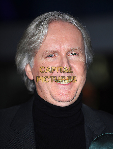 "JAMES CAMERON .Attending the World Premiere of ""Avatar"", Odeon Leicester Square, London, England, UK, .10th December 2009..portrait headshot black polo neck smiling .CAP/BEL.©Tom Belcher/Capital Pictures."