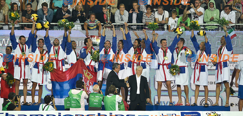SERBIA European Champion <br /> LEN European Water Polo Championships 2014<br /> Alfred Hajos Swimming Complex<br /> Margitsziget - Margaret Island<br /> Day14 - July 27<br /> Photo A.Staccioli/Insidefoto/