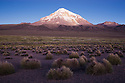 Bolivia, Altiplano, Nevado Sajama is an extinct stratovolcano  and the highest peak in Bolivia, dusk