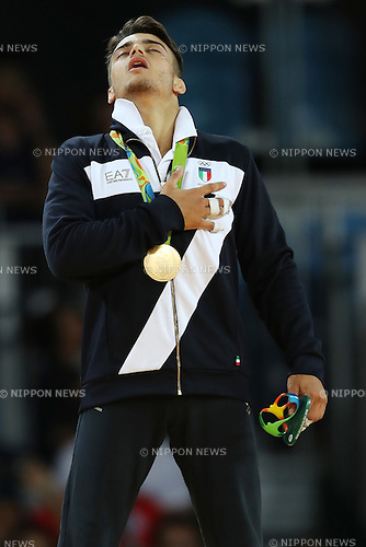 Fabio Basile (ITA),<br /> AUGUST 7, 2016 - Judo : <br /> Men's -66kg Medal Ceremony<br /> at Carioca Arena 2 <br /> during the Rio 2016 Olympic Games in Rio de Janeiro, Brazil. <br /> (Photo by Koji Aoki/AFLO SPORT)