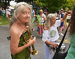 Amy Trompetter and Fre Atlast seen before the start of the Third Annual Mermaid Parade in Rosendale, NY, on Sunday, August 6, 2017. Photo by Jim Peppler. Copyright/Jim Peppler-2017.