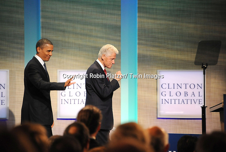 President Barack Obama and President Bill Clinton at the Clinton Global Initiative where President Barack Obama spoke on September 25, 2012 at the Sheraton in New York City.