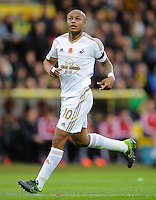 Andre Ayew of Swansea City during the Barclays Premier League match between Norwich City and Swansea City played at Carrow Road, Norwich on November 7th 2015