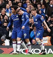 Chelsea's Mason Mount celebrates scoring his side's goal with team-mate Willian<br /> <br /> Photographer Stephanie Meek/CameraSport<br /> <br /> The Premier League - Chelsea v Everton - Sunday 8th March 2020 - Stamford Bridge - London<br /> <br /> World Copyright © 2020 CameraSport. All rights reserved. 43 Linden Ave. Countesthorpe. Leicester. England. LE8 5PG - Tel: +44 (0) 116 277 4147 - admin@camerasport.com - www.camerasport.com