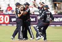 Laura Marsh of England (2nd L) celebrates the wicket of Suzie Bates - England Women vs New Zealand Women - First match of the NatWest summer T20 cricket series at the Ford County Ground, home of Essex CCC, Chelmsford -  29/06/10 - MANDATORY CREDIT: Gavin Ellis/TGSPHOTO - Self billing applies where appropriate - Tel: 0845 094 6026
