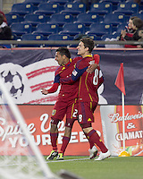 Real Salt Lake forward Paulo Araujo Jr. (23) celebrates his goal with teammate. In a Major League Soccer (MLS) match, Real Salt Lake defeated the New England Revolution, 2-0, at Gillette Stadium on April 9, 2011.