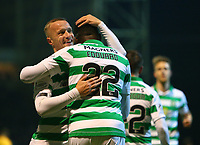 5th February 2020; Fir Park, Motherwell, North Lanarkshire, Scotland; Scottish Premiership Football, Motherwell versus Celtic; Leigh Griffiths of Celtic hugs Odsonne Edouard of Celtic after the opening goal in the 9th minute