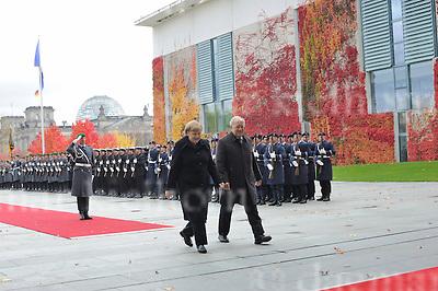 November 02-16,Chancellery,Berlin,Germany<br /> German Chancellor Angela Merkel welcomes  President Johann Schneider-Ammann of Switzerland with military honour.