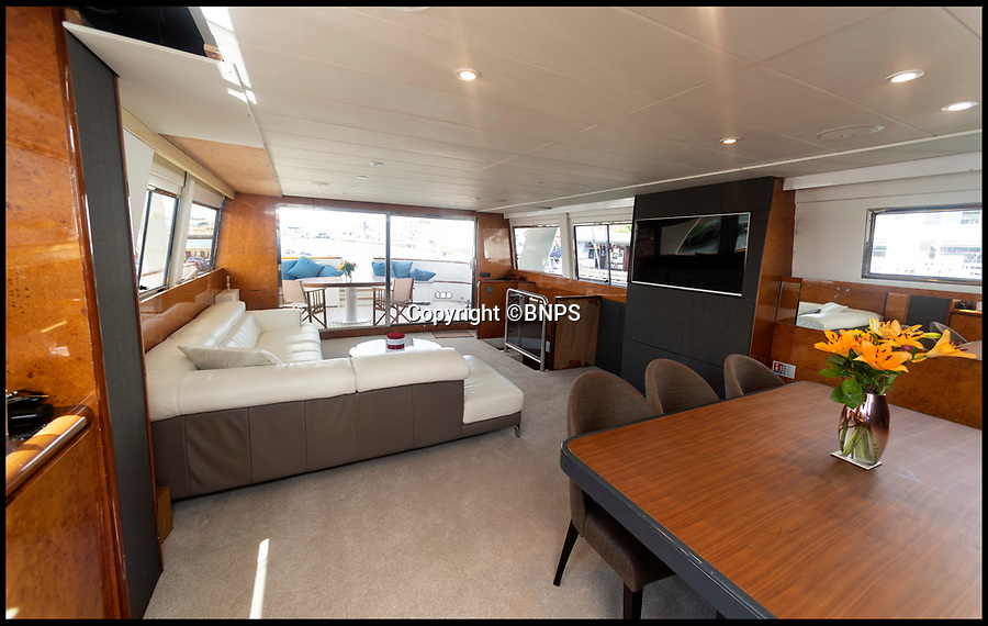 BNPS.co.uk (01202 558833)<br /> Pic: RogerArbon/BNPS<br /> <br /> Who says crime doesn't pay...<br /> <br /> A couple are planning their dream life on the water after they bought a criminal's multi-million super yacht for a knock down price of £66,000.<br /> <br /> Jon and Louise Stevens bought the 85ft motor yacht 'The Cavier' in a government auction after it was seized by the police.<br /> <br /> The vessel had been abandoned in a wharf in Southampton, Hants, for 13 years and as a result was in a run down state when the couple took it over.