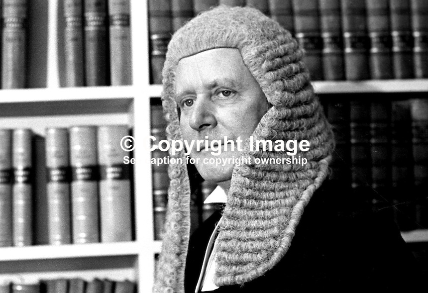 Sir Michael Havers, QC, MP, Solicitor General for England &amp; Wales, during a visit to Belfast, N Ireland. He is a Conservative Party MP. Location probably the Royal Courts of Justice. Purpose of visit - not known. 197212000799b.<br /> <br /> Copyright Image from Victor Patterson, 54 Dorchester Park, Belfast, UK, BT9 6RJ<br /> <br /> t1: +44 28 9066 1296 (from Rep of Ireland 048 9066 1296)<br /> t2: +44 28 9002 2446 (from Rep of Ireland 048 9002 2446)<br /> m: +44 7802 353836<br /> <br /> e1: victorpatterson@me.com<br /> e2: victorpatterson@gmail.com<br /> <br /> The use of my copyright images is subject to my Terms &amp; Conditions.<br /> <br /> It is IMPORTANT that you familiarise yourself with them. They are available on my website at www.victorpatterson.com.<br /> <br /> None of my copyright images may be used on a website unless they are visibly watermarked, i.e. &copy; Victor Patterson within the body of the visible image. Metadata denoting my copyright must NOT be deleted. <br /> <br /> Web use is extra at currently recommended NUJ rates.