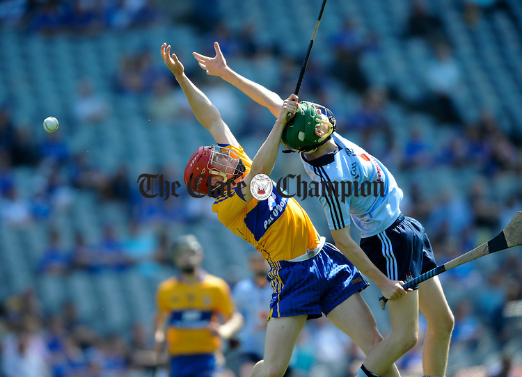 Paul Flanagan of Clare in action against Emmet O Conghaile of Dublin during their minor All-Ireland semi final at Croke Park. Photograph by John Kelly.