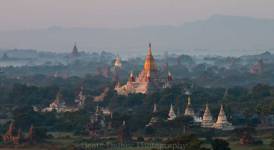 Ananda Pagoda, Bagan, Myanmar, as seen from a hot air balloon