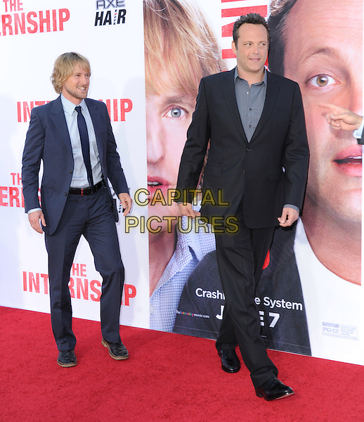 Owen Wilson &amp; Vince Vaughn<br /> &quot;The Internship&quot; Los Angeles Premiere held at the Regency Village Theatre, Westwood, California, USA.<br /> May 29th, 2013<br /> full length shirt grey gray suit black blue<br /> CAP/RKE/DVS<br /> &copy;DVS/RockinExposures/Capital Pictures