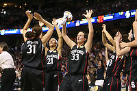 6 April 2008: Stanford Cardinal (L-R) Morgan Clyburn, Rosalyn Gold-Onwude, Jillian Harmon, and Cissy Pierce during Stanford's 82-73 win against the Connecticut Huskies in the 2008 NCAA Division I Women's Basketball Final Four semifinal game at the St. Pete Times Forum Arena in Tampa Bay, FL.