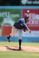 Rome Braves starting pitcher Touki Toussaint (23) in action against the Asheville Tourists at McCormick Field on July 26, 2015 in Asheville, North Carolina.  The Tourists defeated the Braves 16-4.  (Brian Westerholt/Four Seam Images)