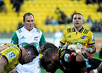 TJ Perenara prepares to feed a scrum as referee Glen Jackson (left) looks on during the Super Rugby quarterfinal match between the Hurricanes and Chiefs at Westpac Stadium in Wellington, New Zealand on Friday, 20 July 2018. Photo: Dave Lintott / lintottphoto.co.nz