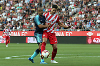Lucas Moura of Tottenham   and Juanpe of Girona during Girona FC vs Tottenham Hotspur, Friendly Match Football at Estadi Montilivi on 4th August 2018