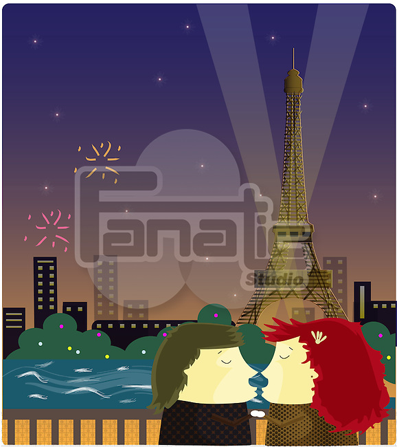 Romantic couple in front of the Eiffel Tower, Paris, France