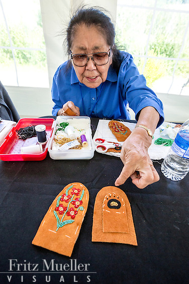 Adaka Cultural Festival 2016, Whitehorse, Yukon, Canada, Yukon First Nation Culture and Tourism Association, Kwanlin Dun Cultural Centre, Mary Decker, beadwork