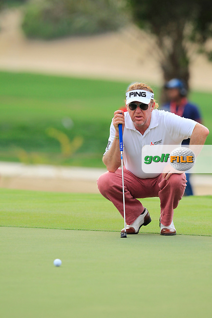 Miguel Angel Jimenez (ESP) on the 17th green during Sunday's Final Round of the Abu Dhabi HSBC Golf Championship 2015 held at the Abu Dhabi Golf Course, United Arab Emirates. 18th January 2015.<br /> Picture: Eoin Clarke www.golffile.ie