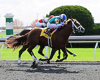 Winning Cause and John Velazquez win the 4th race at Keeneland Racecourse.October 18, 2012.