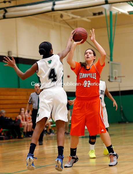Waterbury, CT- 28 December 2015-122815CM07- Terryville's Samantha Stone has her shot blocked by Wilby's Jatyre Ross during their non-league basketball matchup in Waterbury on Monday.   Christopher Massa Republican-American