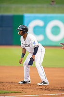 Northwest Arkansas Naturals vs Corpus Christi Hooks<br /> Northwest Arkansas Naturals outfielder Khalil Lee (24) takes a lead off first base Wednesday, May 1, 2019, at Arvest Ballpark in Springdale, Arkansas. (Jason Ivester/Four Seam Images)