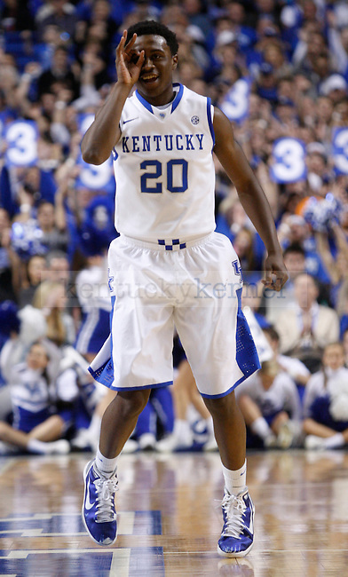 "UK's Doron Lamb throws up the ""three goggles"" after making a three against Samford at Rupp Arena on Tuesday, Dec. 20, 2011. Lamb finished with 26 points. Photo by Scott Hannigan 