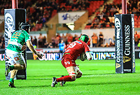Scarlets' Tom Price scores his sides sixth try.<br /> <br /> Photographer Dan Minto/CameraSport<br /> <br /> Guinness PRO12 Round 19 - Scarlets v Benetton Treviso - Saturday 8th April 2017 - Parc y Scarlets - Llanelli, Wales<br /> <br /> World Copyright &copy; 2017 CameraSport. All rights reserved. 43 Linden Ave. Countesthorpe. Leicester. England. LE8 5PG - Tel: +44 (0) 116 277 4147 - admin@camerasport.com - www.camerasport.com
