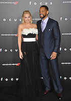 Will Smith &amp; Margot Robbie at the Los Angeles premiere of their movie &quot;Focus&quot; at the TCL Chinese Theatre, Hollywood.<br /> February 24, 2015  Los Angeles, CA<br /> Picture: Paul Smith / Featureflash