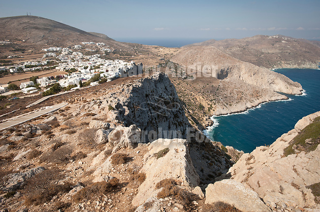 Chora on the cliff overlooking the Aegean Sea, Folegandros, Cyclades, Greece