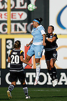 Natasha Kai (6) of Sky Blue FC and Brittany Bock (11) of the Los Angeles Sol go up for a header. The Los Angeles Sol defeated Sky Blue FC 2-0 during a Women's Professional Soccer match at TD Bank Ballpark in Bridgewater, NJ, on April 5, 2009. Photo by Howard C. Smith/isiphotos.com