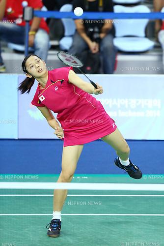 Sayaka Takahashi (JPN), <br /> SEPTEMBER 20, 2014 - Badminton : <br /> Women's Team quarter final<br /> at Gyeyang Gymnasium <br /> during the 2014 Incheon Asian Games in Incheon, South Korea. <br /> (Photo by Shingo Ito/AFLO SPORT) [1195]