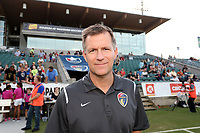 Cary, North Carolina  - Saturday June 17, 2017: Curt Johnson prior to a regular season National Women's Soccer League (NWSL) match between the North Carolina Courage and the Boston Breakers at Sahlen's Stadium at WakeMed Soccer Park. The Courage won the game 3-1.
