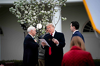 United States President Donald J. Trump and US Vice President Mike Pence look over some notes as they participate in a Fox News Virtual Town Hall with Anchor Bill Hemmer, in the Rose Garden of the White House in Washington, DC, Tuesday, March, 24, 2020.<br /> Credit: Doug Mills / Pool via CNP/AdMedia