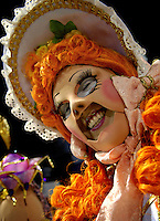 A member of Estacio de Sa samba school performs at Sambadrome on the first night of the Carnival samba school parade, Rio de Janeiro, Brazil , February 21, 2009.