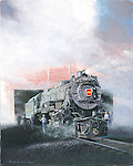 "The #1361 Pennsylvania Railroad K4 steam locomotive emerges from the heavy equipment shop at Steamtown National Historic Site restored and running. Oil on canvas, 20"" x 16""."