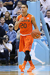 08 January 2014: Miami's Manu Lecomte (BEL). The University of North Carolina Tar Heels played the University of Miami Hurricanes in an NCAA Division I Men's basketball game at the Dean E. Smith Center in Chapel Hill, North Carolina. Miami won the game 63-57.