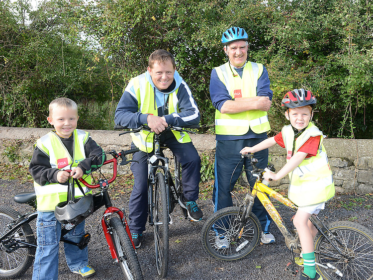 Ben  and EAmon Russell, Joe Crosby and Cormac Courtney who took part in the charity cycle to raise funds towards the new primary school in Duleek. Photo:Colin Bell/pressphotos.ie