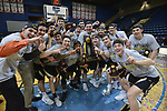 SALEM, VA - MARCH 17: The Nebraska Wesleyen Prairie Wolves celebrate winning their first Division III Men's Basketball Championship held at the Salem Civic Center on March 17, 2018 in Salem, Virginia. Nebraska Wesleyen defeated Wisconsin-Oshkosh 78-72 for the national title. (Photo by Andres Alonso/NCAA Photos/NCAA Photos via Getty Images)