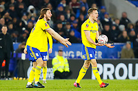 4th March 2020; King Power Stadium, Leicester, Midlands, England; English FA Cup Football, Leicester City versus Birmingham City; Maikel Kieftenbeld and Ivan Sunjic of Birmingham City complain to Referee Jonathan Moss after a decision goes against Kieftenbeld