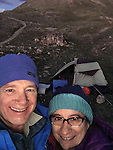 John and Beth camping atop Loveland Pass at sunset, Colorado