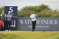 Alex Noren (SWE) on the 5th tee during Round 2 of the Alfred Dunhill Links Championship 2019 at Kingbarns Golf CLub, Fife, Scotland. 27/09/2019.<br /> Picture Thos Caffrey / Golffile.ie<br /> <br /> All photo usage must carry mandatory copyright credit (© Golffile | Thos Caffrey)