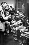 "26 APR 1952:  University of Kansas coach Dr. Forrest ""Phog"" Allen gives his final instructions to his team before playing and winning the NCAA Men's Basketball Final Four held in Seattle, WA at the Edmundson Pavilion. Kansas defeated St. John's 80-63 for the title. future North Carloina coach Dean Smith (facing camera) was a junior at Kansas. Photo Copyright Rich Clarkson"