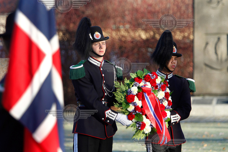 Military, veterans, families and friends gather at Akershus Castle in Oslo for a ceremony to those who has been killed in Afghansitan. King Harald also attended and laid down a wreath at the monument.   ©Fredrik Naumann/Felix Features